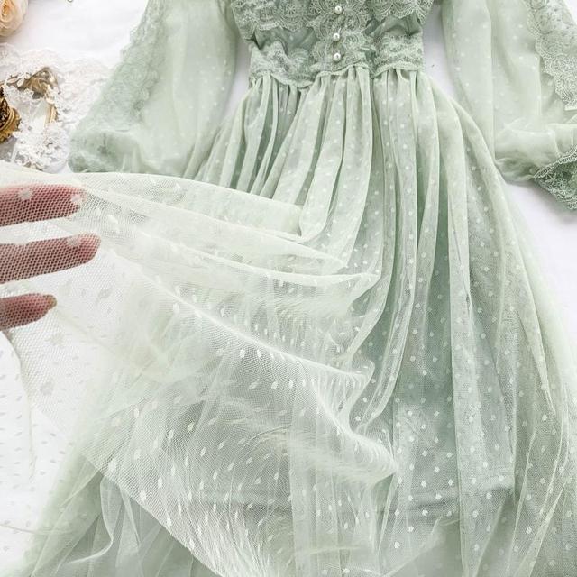 Lace Floral V Neck Long Sleeves  Polka Dot Pearls Sweet Mesh Dress 5