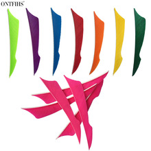 50 Pcs ONTFIHS 4 Fluorescent Green Sting Arrrow Feather Fletching For Archery Arrow Accessories Fletches Feathers