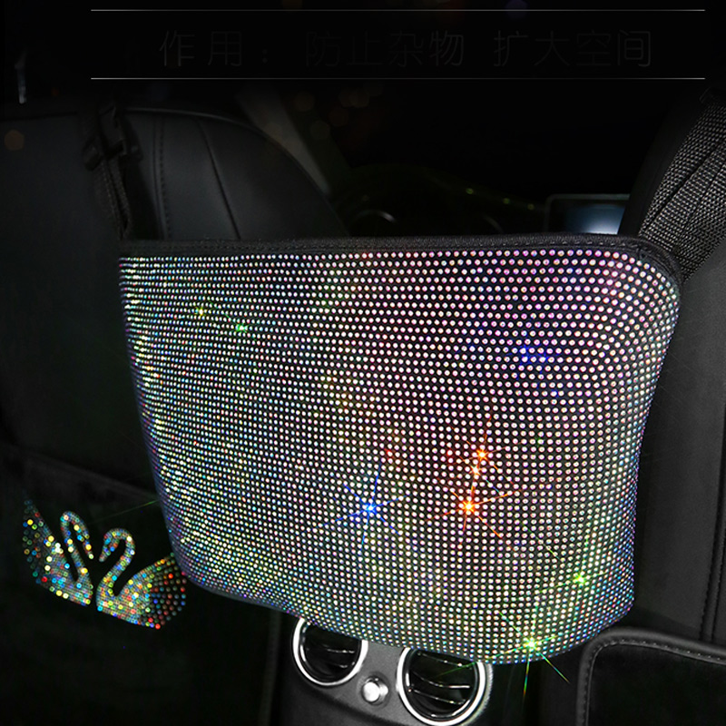 Crystal Rhinestone Car Storage Bag Organizer Barrier of Backseat Holder Multi-Pockets Car Container Stowing Tidying