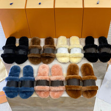 Women's Slippers Wool with Classic Top-Quality 35-42 One-Word Sweeheart New