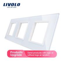 Livolo роскошное белое жемчужное Хрустальное стекло, стандарт ЕС, тройная стеклянная панель для настенного выключателя и розетки, C7-3SR-11(4 цвета