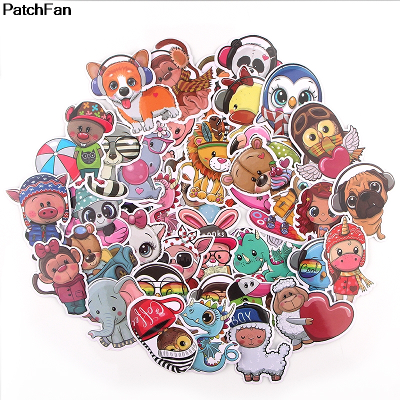 Patchfan 41pcs Animal World Kids Sticker For DIY Scrapbooking Album Luggage Laptop Phone Notebook Decal Waterproof Sticker A2633