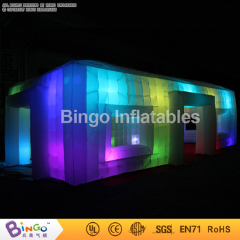 FACTORY OUTLET 9.5x5x3.7m inflatable LED square tent air charging customized lighting marquee room tent for night promotion