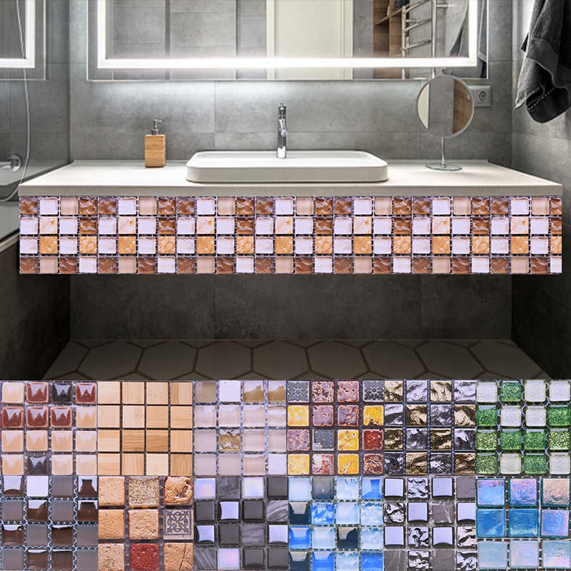 10pcs Mosaic Self Adhesive Tile Backsplash Wall Sticker 3D Waterproof Vinyl Wall Decal DIY Room Bathroom Kitchen Home Decor