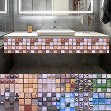 10pcs Mosaic Self Adhesive Tile Backsplash Wall Sticker 3D Waterproof Vinyl Wall Decal DIY Room Bathroom Kitchen Home Decor(China)