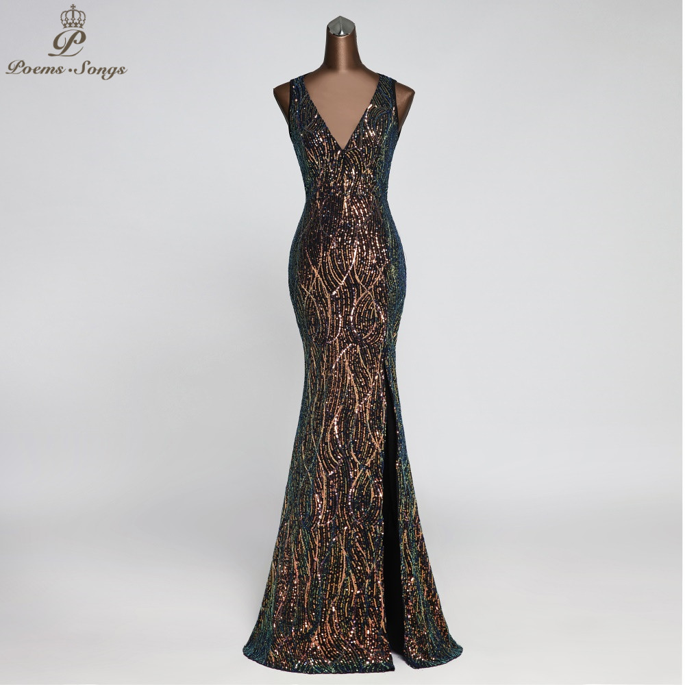 Sexy Chest Zip Party Evening Dresses Bling-bling Sequin Robe De Soiree Vestidos Elegante Evening Gowns Vestido Longo Festa