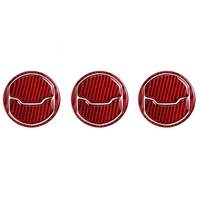 for Ford Mustang Red Carbon Fiber Car Interior Central Air Conditioner Outlet Decorative Cover Sticker 2015 2016 2017 2018 2019