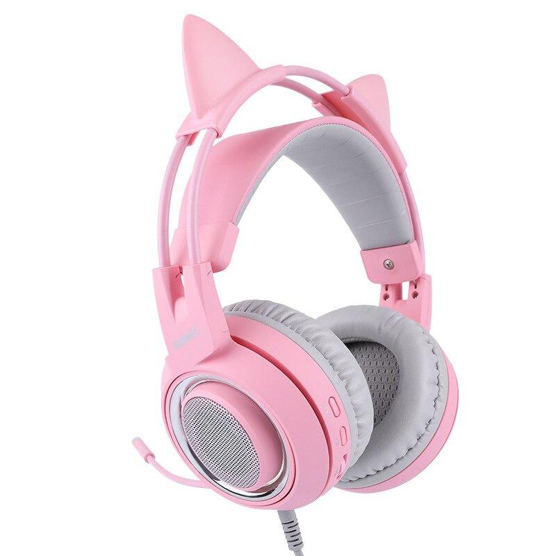 Cabeza montada 7,1 canal ancla gameing gato oreja auricular Rosa Lindo juego auriculares - 3