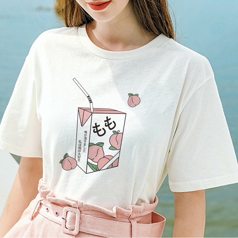 Girl 90s Kawaii White T-shirt Peach Juice Japanses Aesthetic Grunge T Shirt Women Summer Casual Tumblr Outfit Fashion Top Tshirt