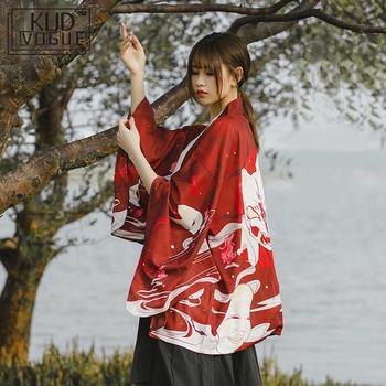 Japanese Kimono Traditional Yukata 2019 New Women Casual Anime Printing Shirt Clothes Traditional Kimonos Men StreetWear Coat 2