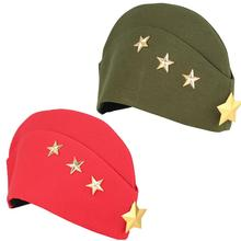 цена на Russian Soviet Red Army Golden Star Military Garrison Caps Girls Autumn Winter Army Uniform Caps Foldable Boat Hats Tricorne