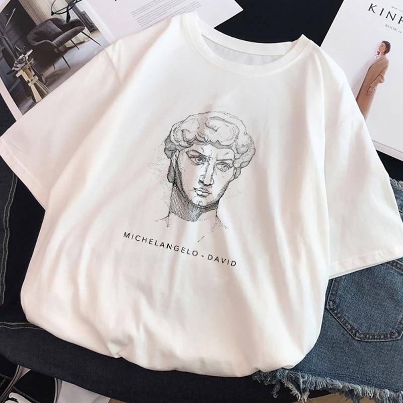 Ulzzang Harajuku Funny Black and White Drawing David Print Short Sleeve T Shirt Large Size Loose O neck Casual Women T Shirt T-Shirts  - AliExpress