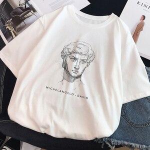 Ulzzang Harajuku Funny Black and White Drawing David Print Short Sleeve T-Shirt Large Size Loose O-neck Casual Women T-Shirt(China)