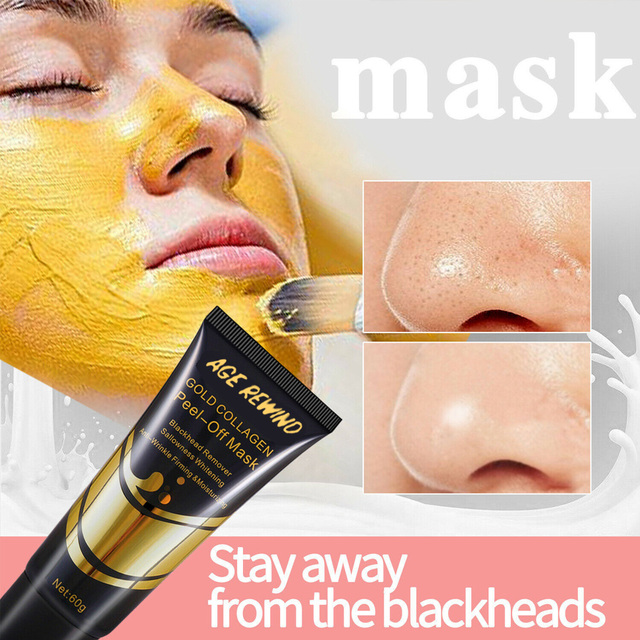 24K Gold Collagen Face Mask Anti Aging Remove Acne Wrinkle Whitening Lifting Smooth Tear Peel Off Masks Skin Care 60g 2