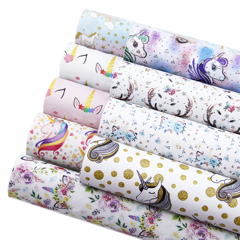 David Accessories 9pcs/set 20*34cm Horse Printed Faux Synthetic Leather For Hair Bows,DIY Handmade Bag Crafts,1Yc5435