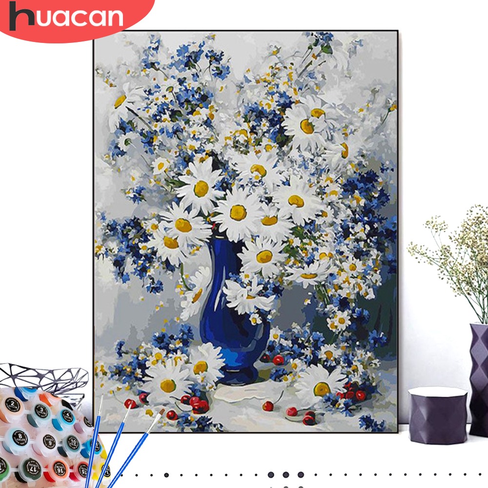 HUACAN Coloring By Numbers Flowers HandPainted Drawing Canvas Pictures Kits DIY Home Decoration Gift