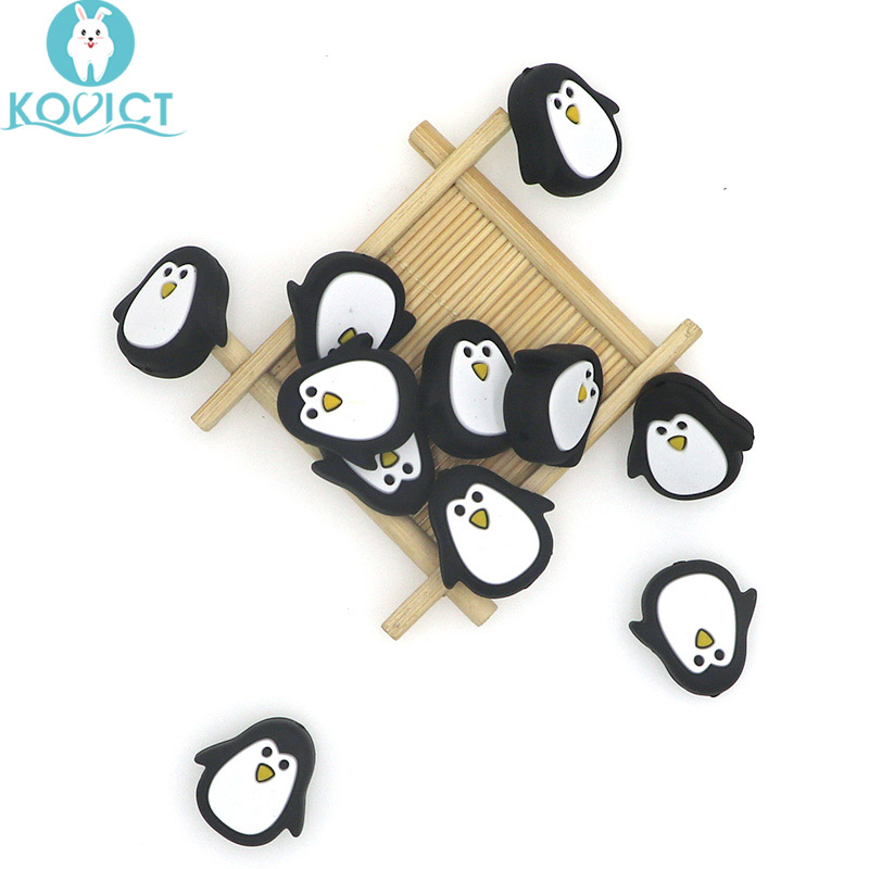Kovict 10pcs Cute Mini Penguin Silicone Beads Animal Baby Teether Infant Teething Bead For DIY Necklace Accessories Toy