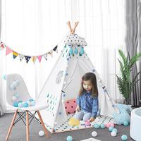 Portable Children's Tents Tipi Play House Kids Cotton Canvas Indian Play Tent Child Little Teepee Room Decoration