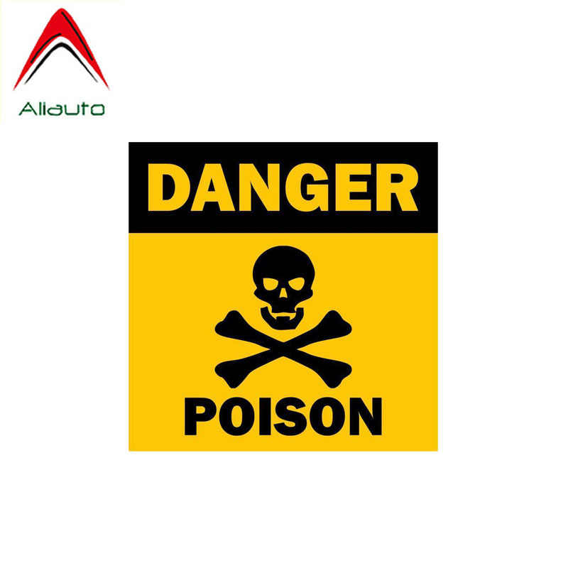 Aliauto Warning Car Sticker Skull Poison Danger Decal Accessories PVC for Renault Toyota Opel Vw Nissan Suzuki Peugeot,13cm*13cm