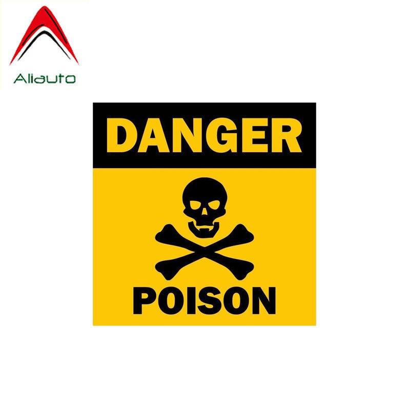 Aliauto Warning Car Sticker Skull Poison Danger Decal Accessories PVC For Renault Toyota Opel Vw Nissan Suzuki Peugeot,13cm*13cm