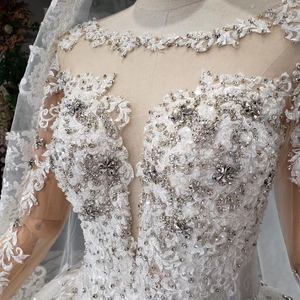 Image 5 - HTL954 ארוך שרוול שמלות כלה אשליה o צוואר חרוזים קריסטל סין כלה שמלות בטורקיה robe דה mariee 11.11 קידום