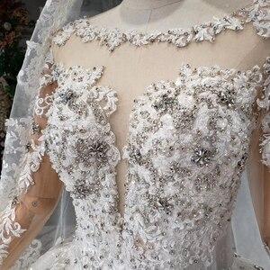 Image 5 - HTL954 suknie ślubne z długim rękawem illusion o neck koraliki kryształowe chiny suknie ślubne w turcji robe de mariee 11.11 promocja