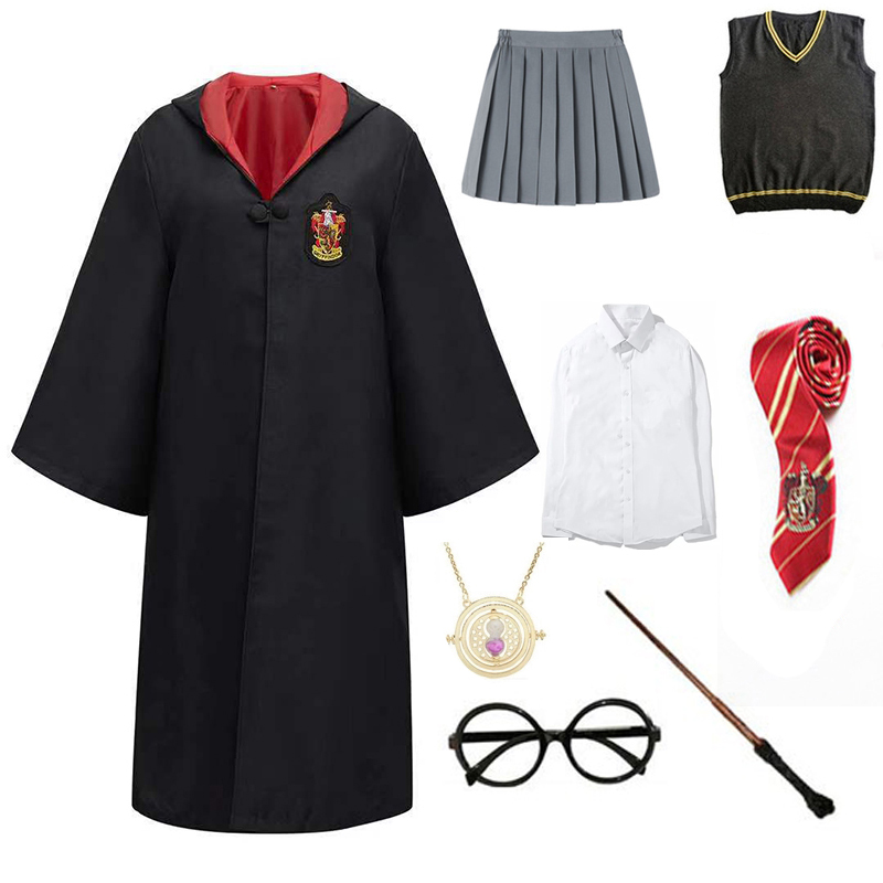Children Outfits Cosplay Clothes Magic Cloak Robe Cape Cosplay Costume Shirt Hat Skirt Tie Wand Cosplay Accessories Uniform