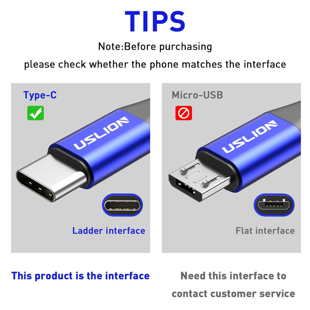 USLION 3A USB Type C Cable Fast Charging Wire for Samsung Galaxy S8 S9 Plus Xiaomi mi9 Huawei Mobile Phone USB C Charger Cable 5