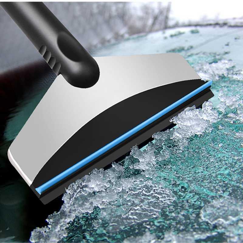 Портативный автомобильный зимний скребок для льда, лобовое стекло, снежный скребок, лопата для льда, инструмент для очистки автомобиля, очиститель окон из нержавеющей стали