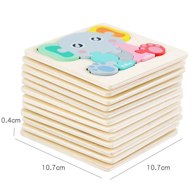Kids Wooden Toys 3D Wood Puzzle Cartoon Animals Cognitive Jigsaw Puzzle Early Learning Educational Toys For Children Gift 5