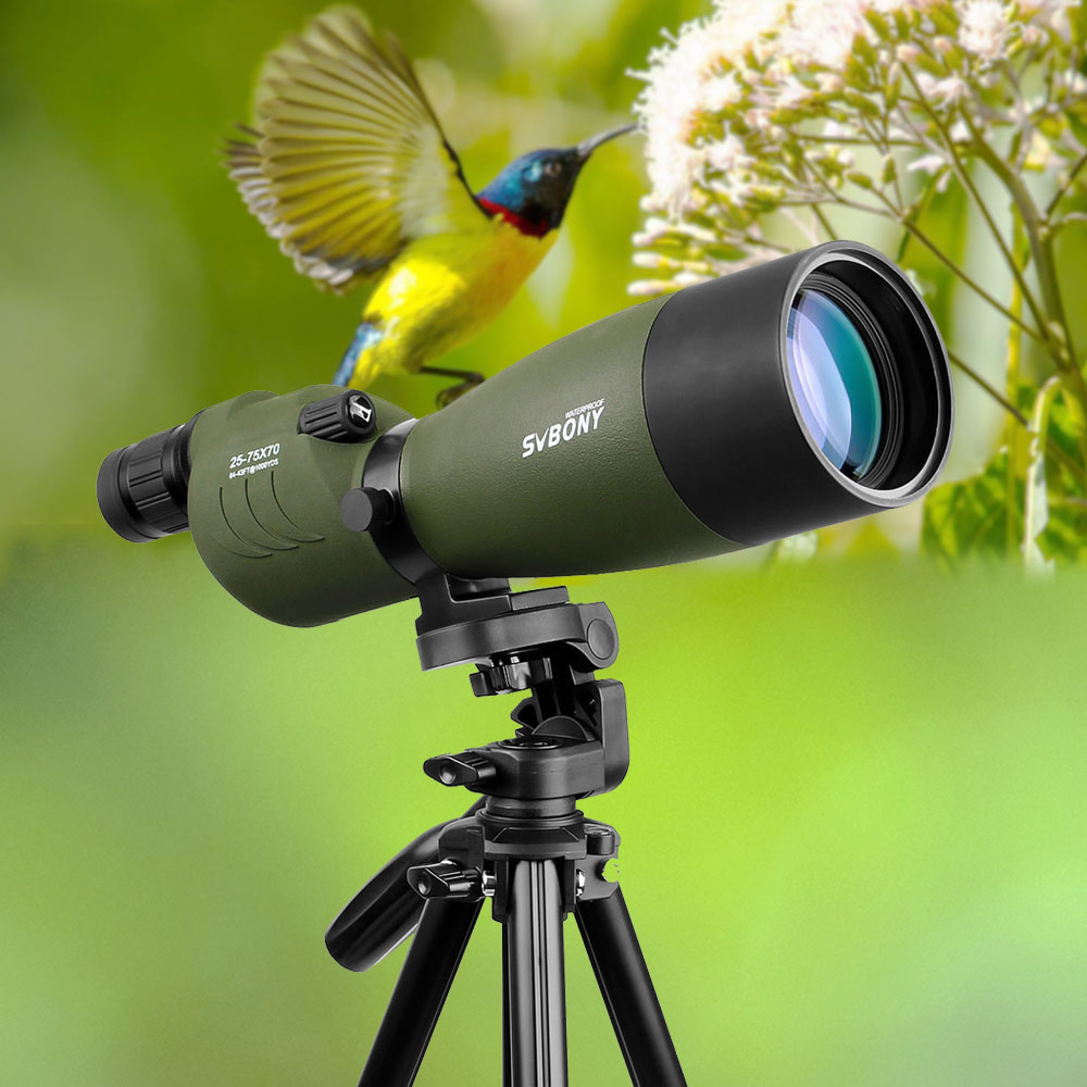 Telescopio SVBONY 25-75x70 Zoom alcance Spotting dv17 BAK4 prisma FMC lente recubrimiento caza Monocular impermeable al aire libre óptica para caza, tiro, tiro con arco, observación de aves
