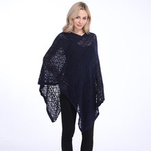 Womens Oversized Pullover Sweater Batwing Sleeve 느슨한 스웨터 랩 비대칭 탑스 블라우스 셔츠 Hollow Out Cape Cloak Poncho(China)