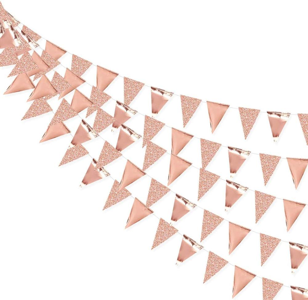 3 м цвета розового золота Бумага овсянка треугольные флажки Mariage Гирлянда Свадебные плакаты свадебный душ Обручение висит поставки украшен...