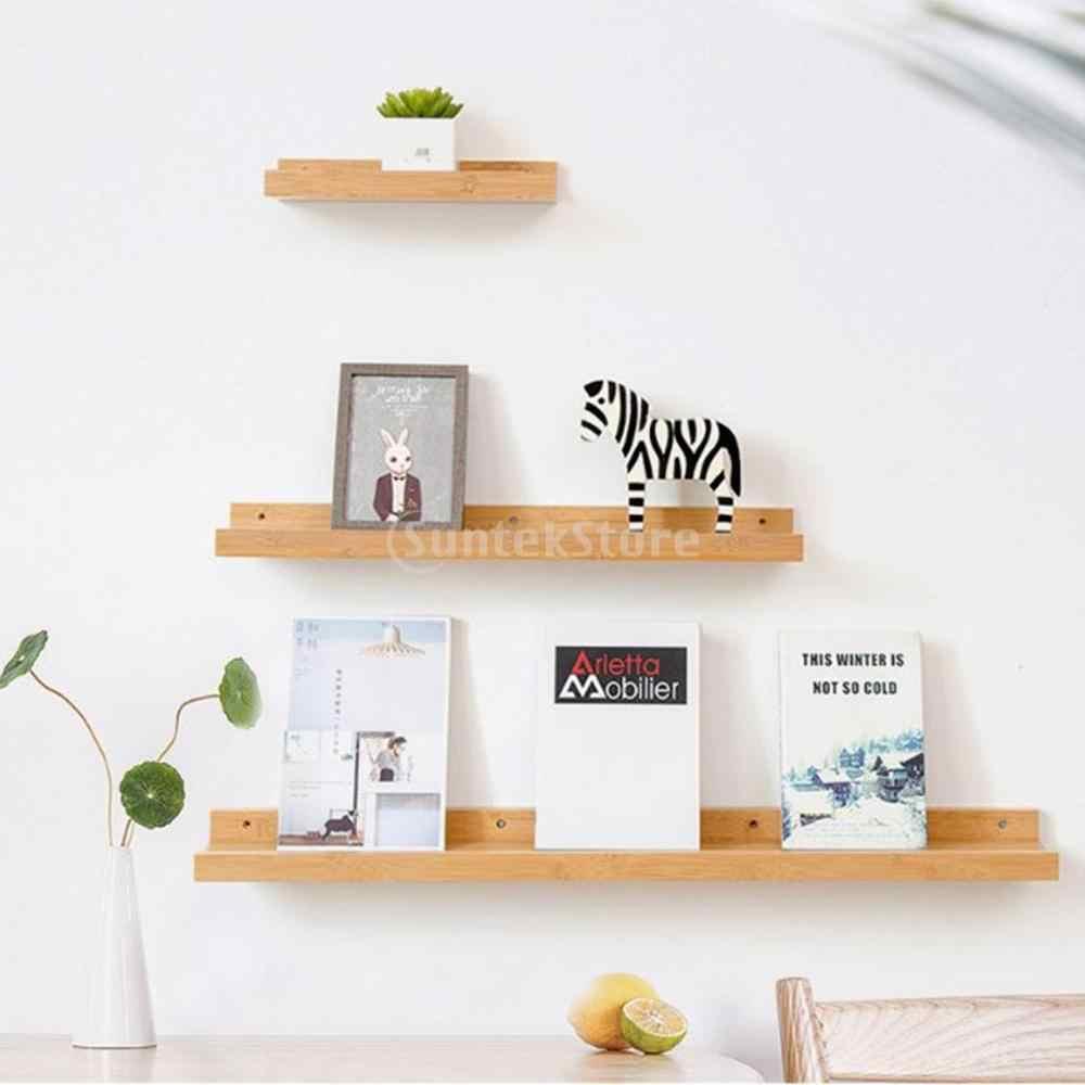 플로팅 선반 트레이 책장 및 디스플레이 책장 어린이를위한 현대 목재 선반 단위 침실 벽걸이 형 스토리지 선반