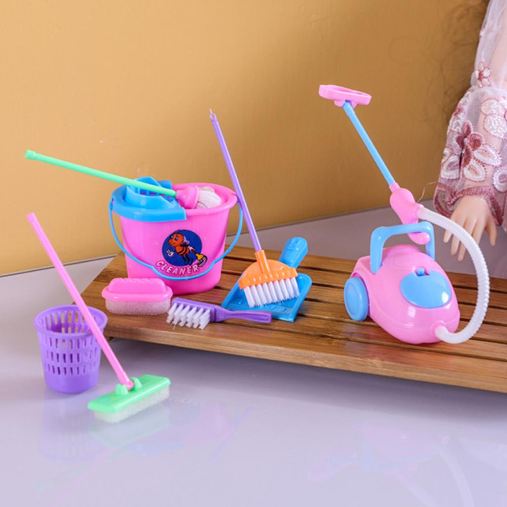 9Pcs Girl House Funny Dolls Furniture Cleaning Kit Set Home Furnishing Vacuum Cleaner Mop Broom Tools Pretend Play Toys