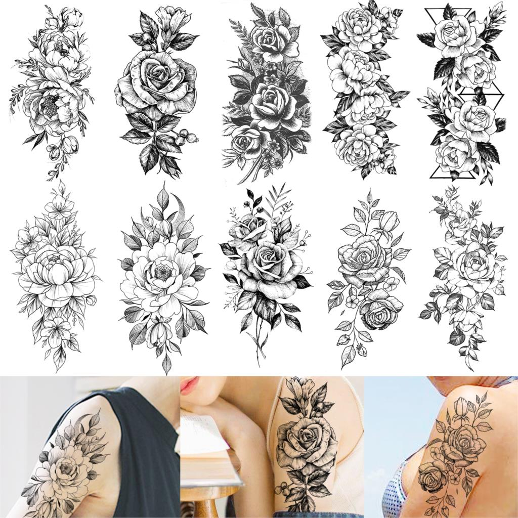 Flower Rose Temporary Tattoos For Women Waterproof Fake Body Art Arm Sketch Tattoo Stickers Shoulder Arm Leaf Tatoo For Adults