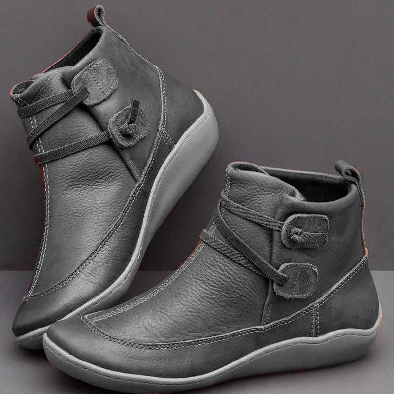Kadın PU deri Vintage yarım çizmeler kadın kısa peluş kış çapraz kayış kadın düz bayan yumuşak Retro ayakkabılar kadın rahat