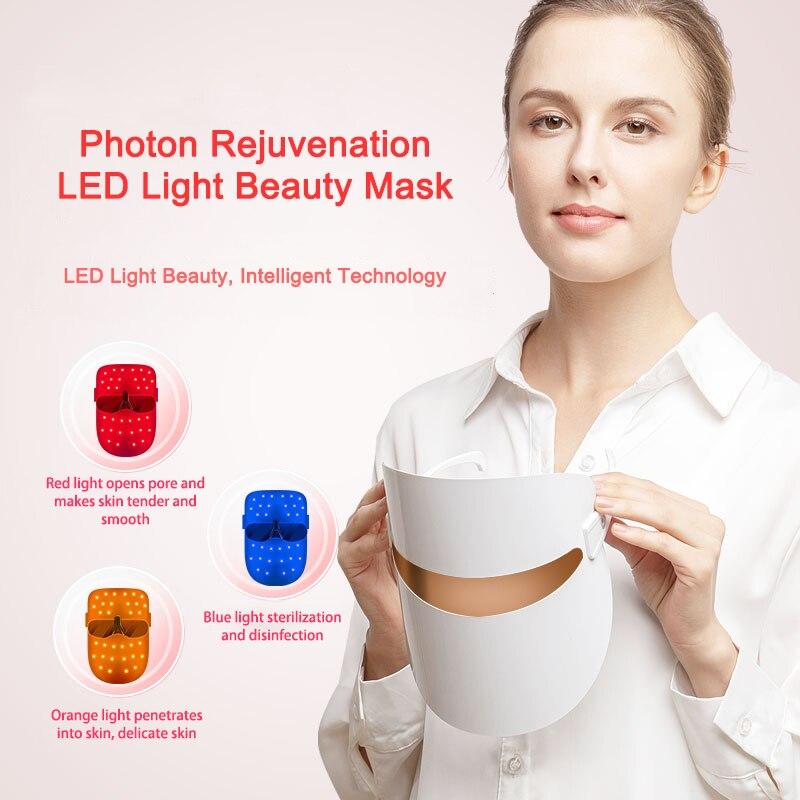 Masque LED beauté du visage rajeunissement de la peau Photon lumière 3 couleurs mascara LED thérapie rides acné serrer la peau outil usage domestique