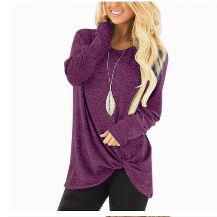 Женская Однотонная футболка с длинным рукавом, Повседневная тонкая осенне-зимняя женская футболка, женская модная Корейская одежда, Черные Серые топы размера плюс - Цвет: Purple
