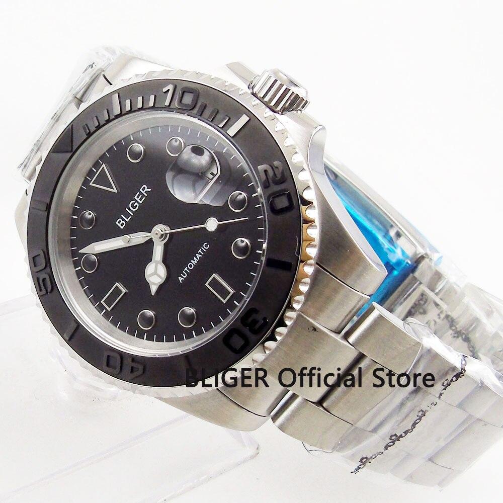 Sapphire Crystal BLIGER 43MM Black Dial Ceramic Rotating Bezel Luminous Marks Japan Miyota Automatic Movement Men's Watch|Mechanical Watches|   - title=
