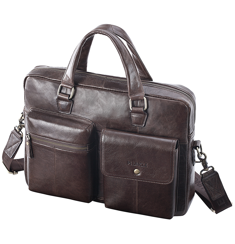 2019 New Men Split Leather Handbag Zipper Men Business Polyester Two Silt Pocket Soft Handle 14 Inches Briefcases Bags