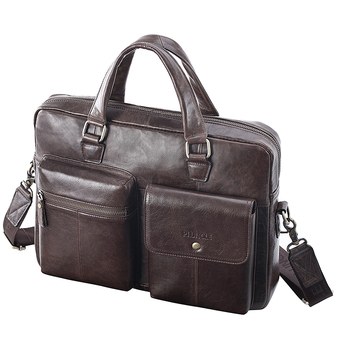 2019 New Men Split Leather Handbag Zipper Men Business Polyester Two Silt Pocket Soft Handle 14 Inches Briefcases Bags