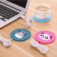 Usb warmer gadget dos desenhos animados de silicone fino copo-almofada de café chá bebida aquecedor usb bandeja caneca almofada agradável presente