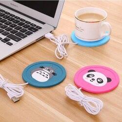 USB cieplej gadżet Cartoon silikonowy cienki kubek Pad kawy napój herbaciany usb podgrzewacz taca kubek Pad fajny prezent|Gadżety USB|   -