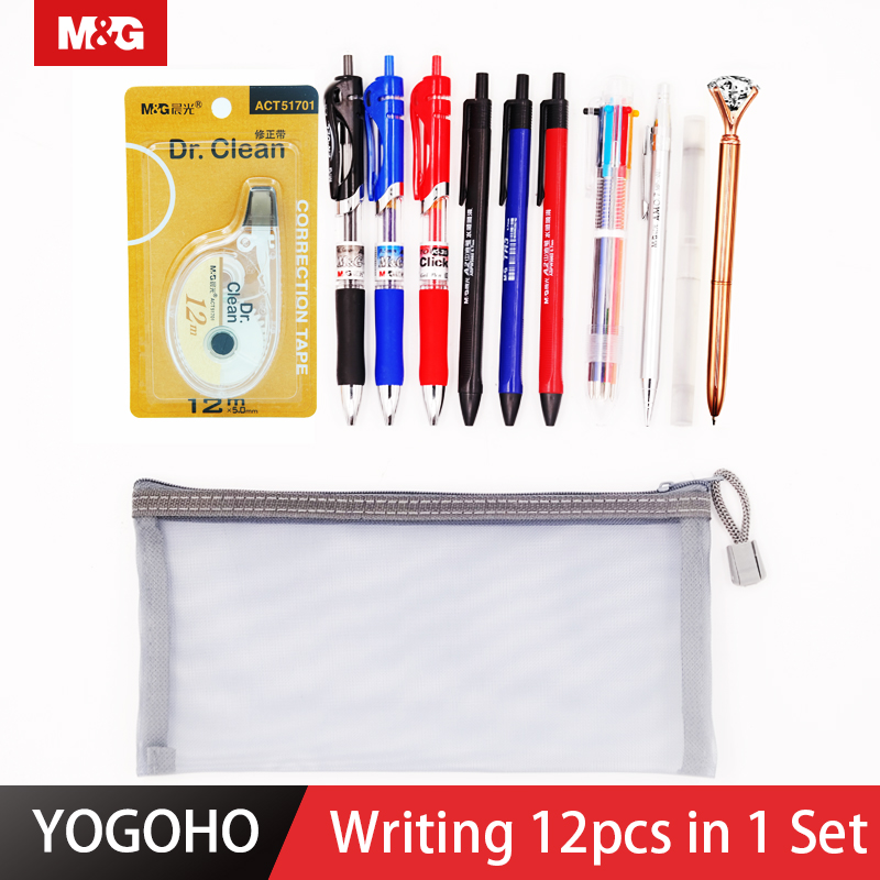 M&G 12 in 1 set Gel pen Diamond ballpoint pen Semi-Gel ballpoint pen Mechanical Pencil with lead, bag correction tape stationery image