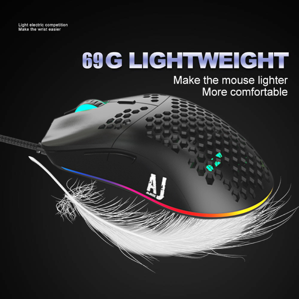 URCHOICELTD Gaming Mouse 6 Colors LED Light 16000DPI Adjustable 7 Keys Honeycomb Hollow Design 69g Lightweight ABS Wired Mouse