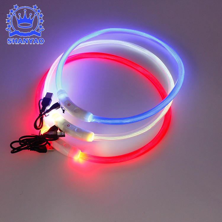 USB Charging Pet Collar Dog Luminous Necklace LED Dog Luminous Collar LED Shining Pet Supplies
