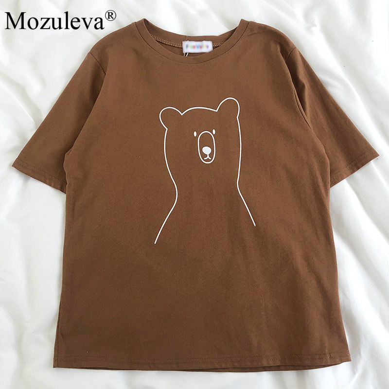Mozuleva 2020 Chic Cartoon Bear Cotton Women T-shirt Summer Short Sleeve Female T Shirt Spring White O-neck Top Tees 100% Cotton 7