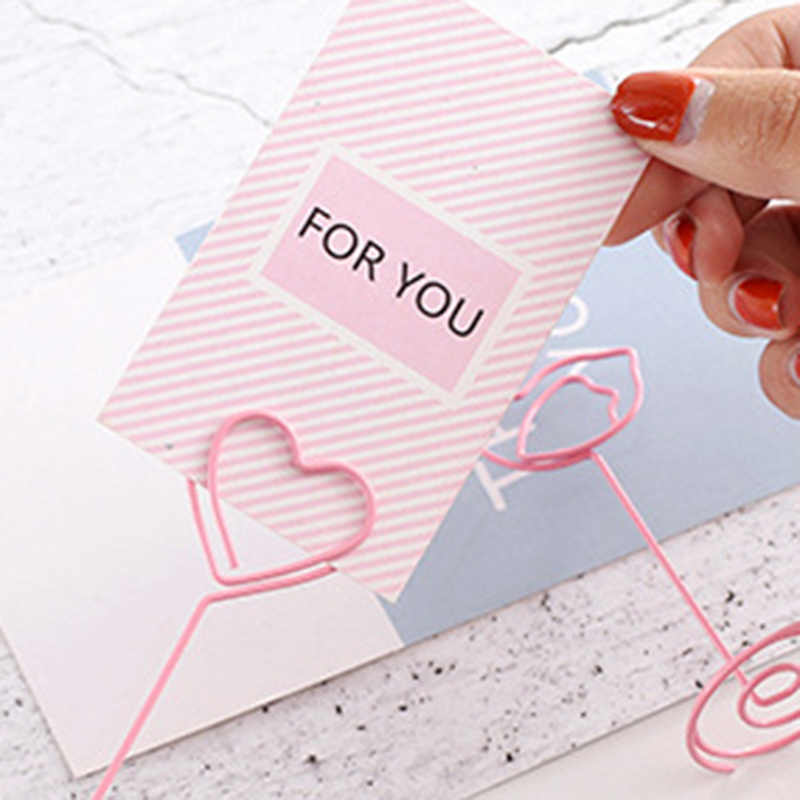 Desk Notes Folder Unicorn Heart Shape Clips Wedding Favors Place Card Holder Table Photo Memo Number Name Clips Message Clips