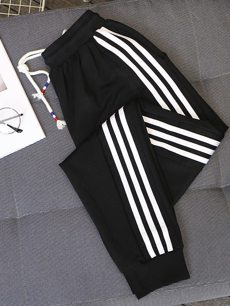 Harem Pants Loose-Trousers Black Autumn White Big-Size Casual Women Ladies Spring Striped